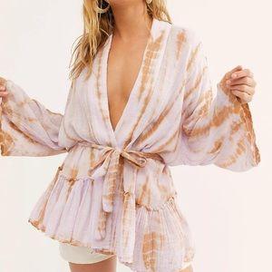Free People 1 Sasha Tie-Dye Kimono- Lavender Combo